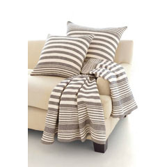 Rugby Stripe Charcoal Woven Cotton Throw | Gracious Style